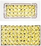 Trandafiri decorativi din sapun, culoare ivory, 50 buc/set