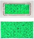 Trandafiri decorativi din sapun, culoare lime, 50 buc/set