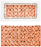 Trandafiri decorativi din sapun, culoare piersica, 50 buc/set