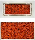 Trandafiri decorativi din sapun, culoare portocaliu, 50 buc/set