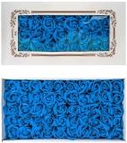 Trandafiri decorativi din sapun, culoare turcoaz, 50 buc/set