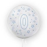 Balon transparent - albastru 45 cm, cifra 0, baieti Tuban