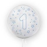 Balon transparent - albastru 45 cm, cifra 1, baieti Tuban