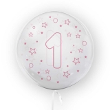 Balon transparent - roz 45 cm, cifra 1, fete Tuban