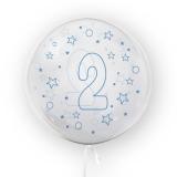 Balon transparent - albastru 45 cm, cifra 2, baieti Tuban