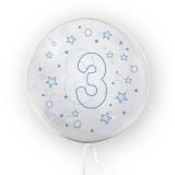 Balon transparent - albastru 45 cm, cifra 3, baieti Tuban