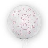 Balon transparent - roz 45 cm, cifra 3, fete Tuban