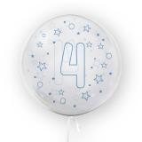 Balon transparent - albastru 45 cm, cifra 4, baieti Tuban