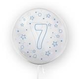 Balon transparent - albastru 45 cm, cifra 7, baieti Tuban