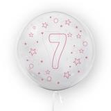 Balon transparent - roz 45 cm, cifra 7, fete Tuban