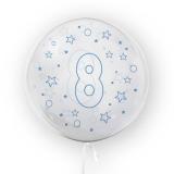 Balon transparent - albastru 45 cm, cifra 8, baieti Tuban