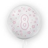 Balon transparent - roz 45 cm, cifra 8, fete Tuban