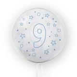 Balon transparent - albastru 45 cm, cifra 9, baieti Tuban