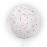 Balon transparent - roz 45 cm, cifra 9, fete