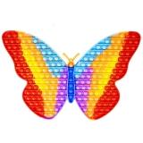Jucarie senzoriala antistres Pop it Now and Flip it, Push Bubble XXL, 30 cm, model Fluturas curcubeu