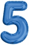 Balon, folie aluminiu, albastru, cifra 5, 81 cm