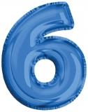Balon, folie aluminiu, albastru, cifra 6, 81 cm