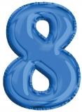 Balon, folie aluminiu, albastru, cifra 8, 81 cm