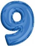 Balon, folie aluminiu, albastru, cifra 9, 81 cm