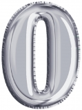 Balon, folie aluminiu, argintiu, cifra 0, 81 cm