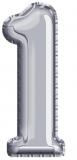 Balon, folie aluminiu, argintiu, cifra 1, 81 cm