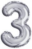 Balon, folie aluminiu, argintiu, cifra 3, 81 cm