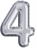 Balon, folie aluminiu, argintiu, cifra 4, 81 cm