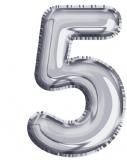 Balon, folie aluminiu, argintiu, cifra 5, 81 cm