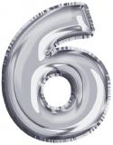 Balon, folie aluminiu, argintiu, cifra 6, 81 cm