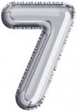 Balon, folie aluminiu, argintiu, cifra 7, 81 cm