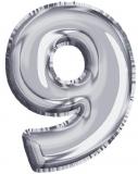 Balon, folie aluminiu, argintiu, cifra 9, 81 cm