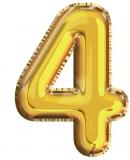 Balon, folie aluminiu, auriu, cifra 4, 81 cm