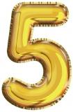 Balon, folie aluminiu, auriu, cifra 5, 81 cm