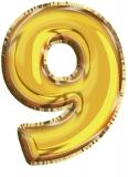 Balon, folie aluminiu, auriu, cifra 9, 81 cm