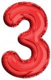 Balon, folie aluminiu, rosu, cifra 3, 81 cm