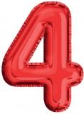 Balon, folie aluminiu, rosu, cifra 4, 81 cm