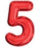 Balon, folie aluminiu, rosu, cifra 5, 81 cm