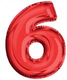 Balon, folie aluminiu, rosu, cifra 6, 81 cm