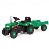 Tractor cu pedale si remorca verde Dolu