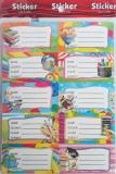 Etichete scolare cu desene, diverse modele, 200 buc/set