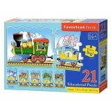 Joc educativ pentru copii, tip puzzle, Invata sa numeri, 21 piese Castorland