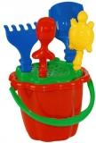 Galeata nisip cu 5 accesorii, rosu/verde, Tupiko