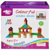 Cuburi din lemn in cutie, 30 piese