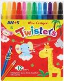 Creioane cerate Twisters, 12 culori/set, Amos