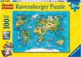 Puzzle Harta Calatorii, 100 Piese Ravensburger