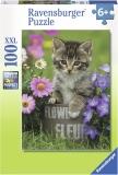 Puzzle Pisicuta Intre Flori, 100 Piese Ravensburger