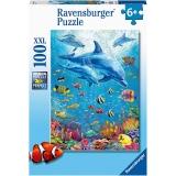 Puzzle Delfini Si Pesti, 100 Piese Ravensburger