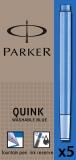 Rezerva stilou albastru lavabil standard 5 bucati/set Quink Parker