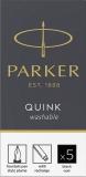 Cartus standard lavabil, culoare negru, 5 buc/set, Quink Parker