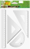 Trusa geometrie 4 piese/set liniar 20 cm S-Cool